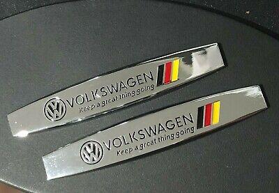 2PCS VW VOLKSWAGEN Chrome Metal Side Rear Car Sticker Fender Door Emblem Badge