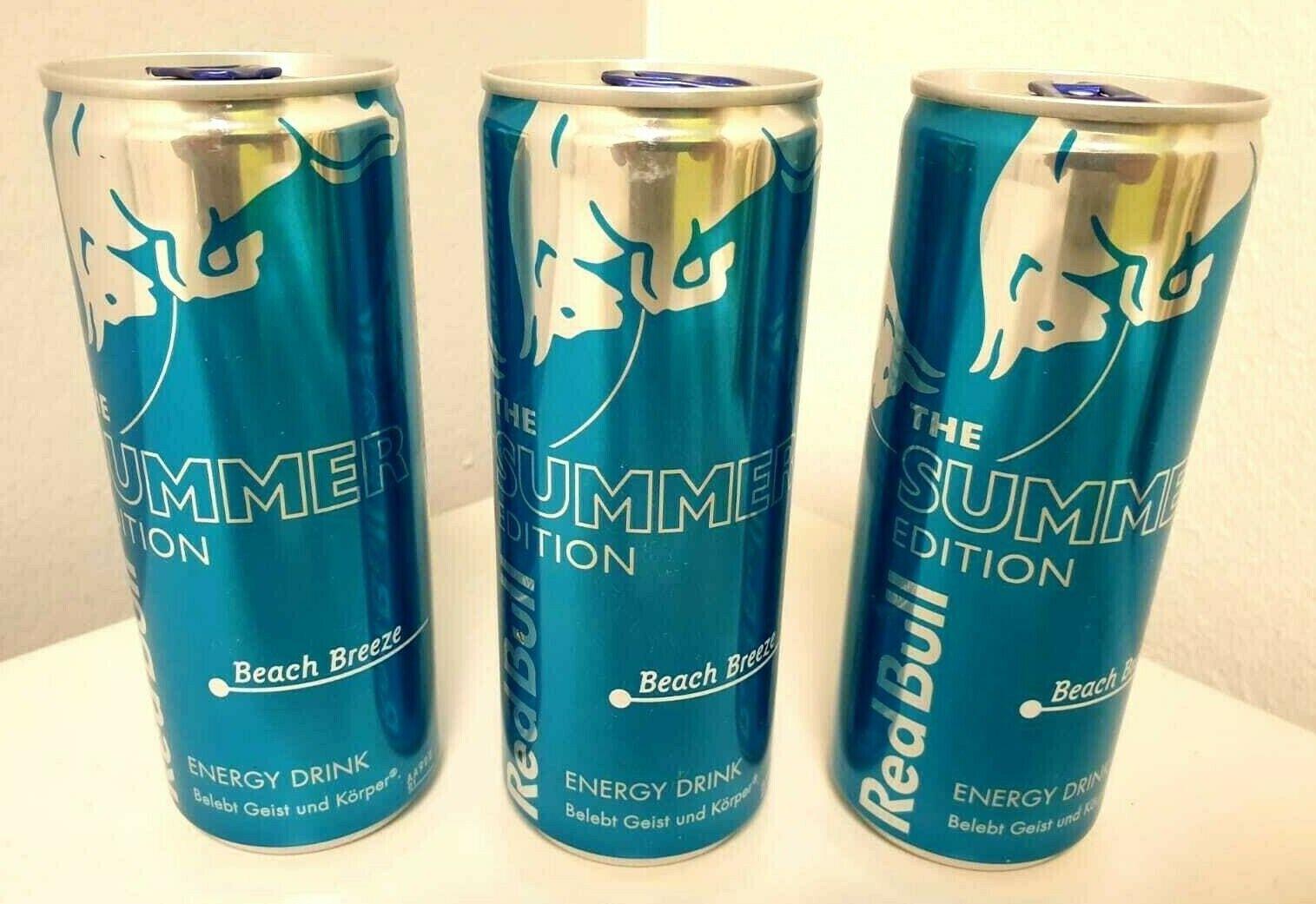 3 Ungeöffnete Dosen Red Bull Summer Edition Beach Breeze 2019 Energy-Drink
