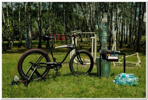 plastic bottle PET shredder - grinder with bicycle generator  - precious eco edu