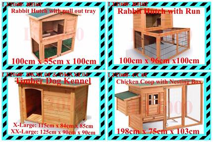 Rabbit Hutches, Chicken Coop and Dog Kennels from $119 to $239