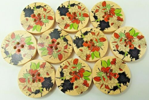 """Lot of 10 Painted Multi Color Floral Design 1"""" Wood Buttons"""