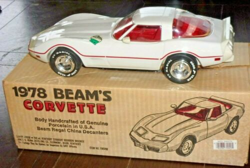 1978 White Jim Beam Corvette Decanter With Red Racing Stripe Original Box