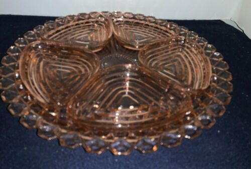 "Waterford WAFFLE Pink Depression Glass 14"" SANDWICH PLATE w/ 5 MANHATTAN Inserts"