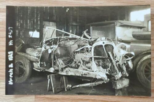 "Vintage Original Photo of Car Accident Crash 7"" x 4.5"" dated 1929 Auto"
