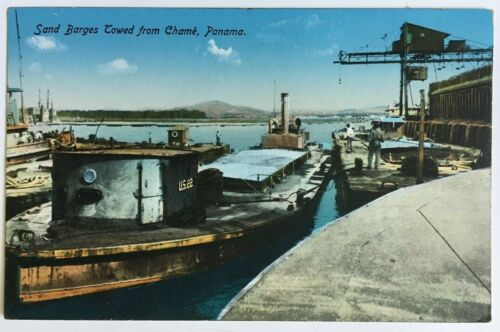 Postcard Panama Canal Zone Sand Barges Towed from Chame