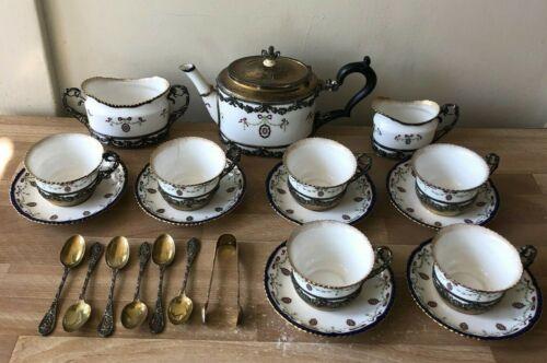 22 piece Royal Worcester Tea Set Sterling Silver William Comyns J H Werner