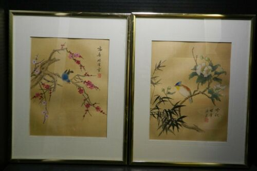 Vintage Pair of Matted & Framed, Signed Chinese Bird In Tree Paintings Excellent