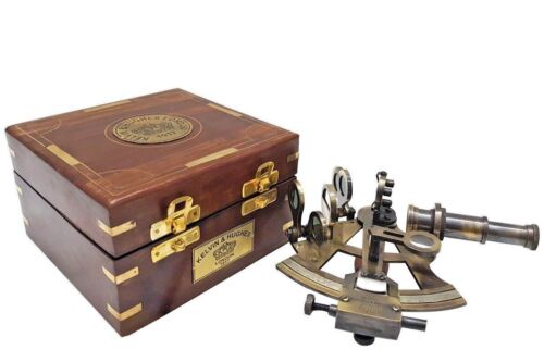 Nautical Brass Sextant Vintage Kelvin & Hughes 1917 Antique GPS Ship Wooden Box