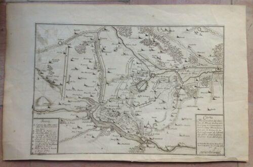 XVIIIe S. 1730 FRANCE FLANDERS DOUAI par JACQUES HARREWYN ANTIQUE CARTE GRAVEE