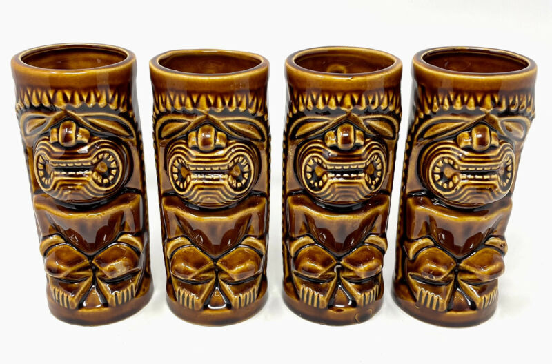 """Orchids Of Hawaii Tiki Mugs Vtg Old R-74 Ceramic 6"""" Cups 74 Brown JAPAN Lot Of 4"""