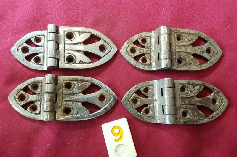 4 VTG ANTIQUE ICE BOX HINGES NICKEL over BRASS ORNATE OFFSET ~ 2 PAIR - Y9H