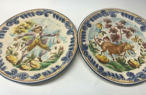 PAIR OF VINTAGE HANDPAINTED IN PORTUGAL JOLETE ALCOBACA COORDINATING POTTERY PLA