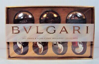 BVLGARI Perfume Mini Collection OMNIA & AQVA Seven .17 oz EDTs *SEALED in BOX*