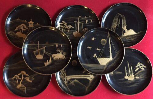 Set 8 Vintage Art Deco Black Lacquer & Gold Wood Japanese Plates