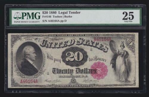 US 1880 $20 Hamilton Legal Tender FR 146 PMG 25 VF (-164)