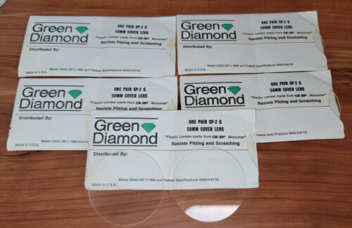 (5 Pairs) NOS Green Diamond 50mm Clear Round Cover Lens SP-2 G Welding Goggles