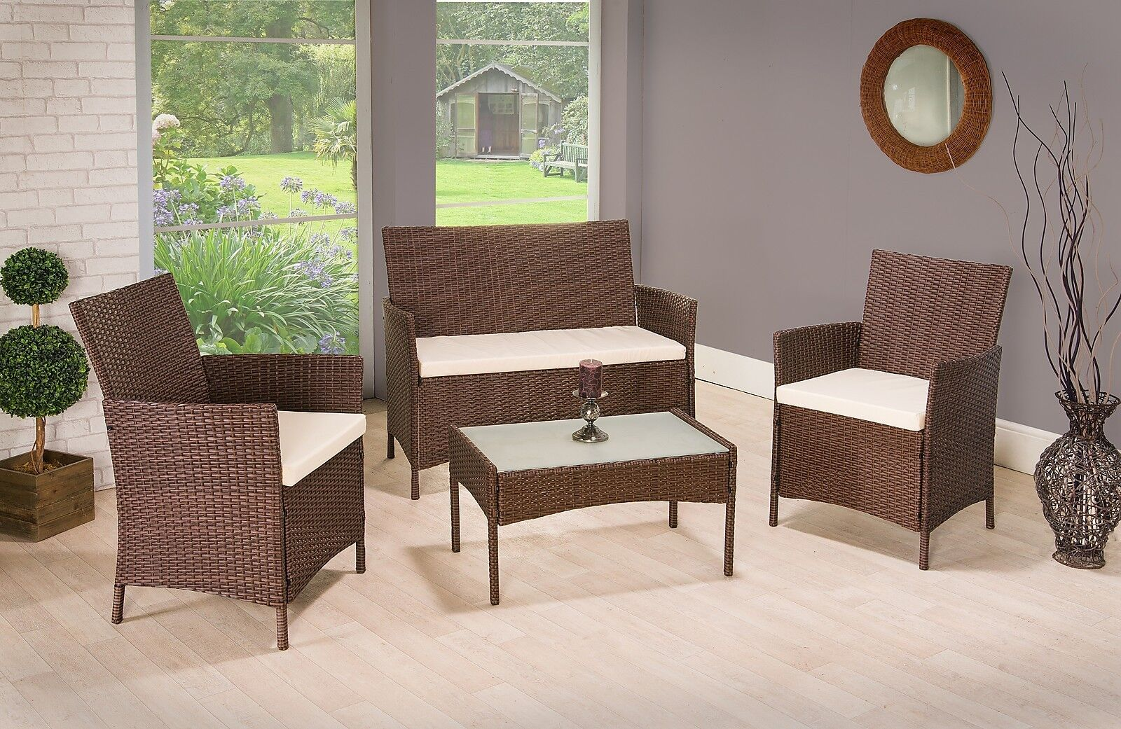 Garden Furniture - RATTAN GARDEN FURNITURE SET CHAIRS SOFA TABLE OUTDOOR PATIO CONSERVATORY WICKER
