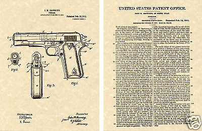 COLT 1911 Pistol 45 AUTOMATIC Patent Art Print READY TO FRAME!!! John Browning