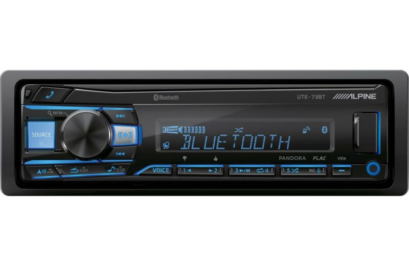 Alpine UTE-73BT Car Stereo Single DIN Digital Media USB AUX Radio Receiver New