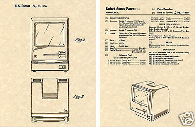 APPLE MACINTOSH US PATENT Art Print READY TO FRAME!! Steve Jobs 1986 Computer
