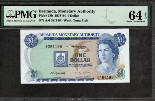 BERMUDA 1978-84 $1 ONE DOLLAR, P28b, PMG CHOICE UNC 64 EPQ 081196