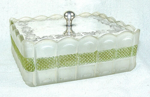 Antique Glass & Silverplate Sardine Dish
