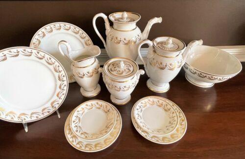 Old Paris Porcelain Empire Eagle Spout Coffee Pot Sugar Bowl Creamer Plates set