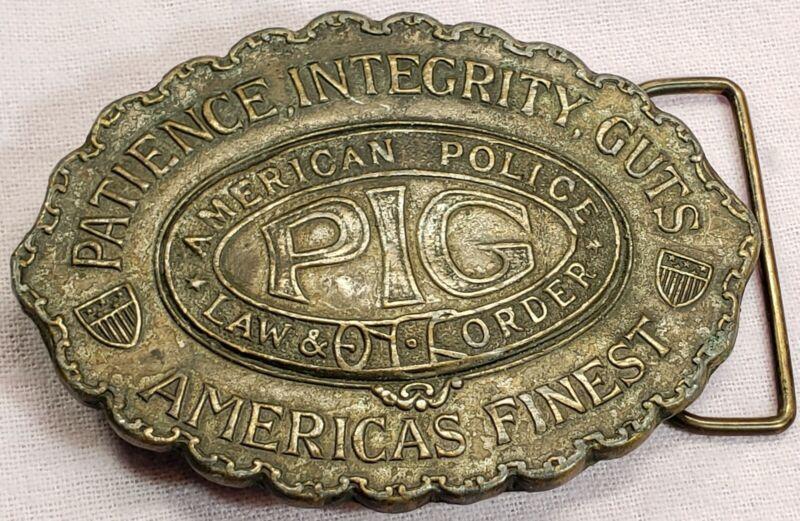 Vintage American POLICE Patience*Integrity*Guts PIG Koleaco Belt Buckle