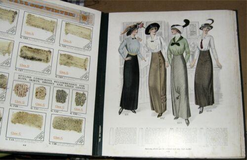 "Antique 1913 Fashion,Fabrics Catalog,American Ladies Tailoring Co.Chicago.18""x16"
