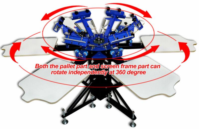 6 Color 6 Station Screen Printing Machine Adjust Rotary Press Shirt Equipment
