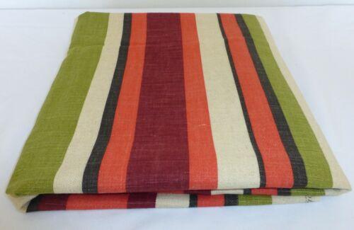 Vintage Mid Century WAVERLY BONDED FABRIC Upholstery Striped Pumpkin Avocado