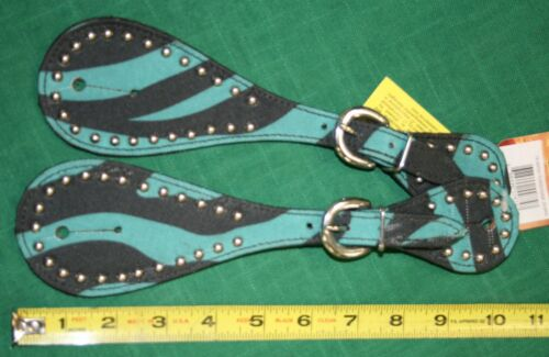 NEW Tough 1 Adult Leather Spur Straps with Turquoise Zebra Print and Steel Dots