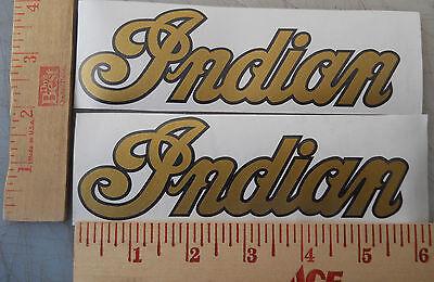 Indian Trailblazer Motorcycle Tank Decals Stickers Metallic Gold & Black New 2ea