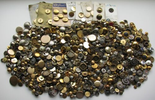 3.25 Pounds Lbs Vintage + Modern Buttons Metal & Metal Look Craft Collect Repair