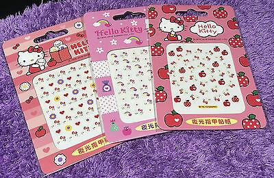 Hello Kitty Glow In The Dark Nail Sticker Art Wrap Cute Authentic Sanrio Gift (Hello Kitty Gift Wrap)