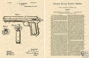 COLT-1900-AUTO-PISTOL-US-PATENT-READY-TO-FRAME-John-Browning-Art-Print-Gun