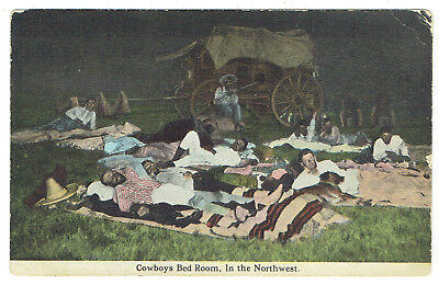 Cowboys Bed Room in the Northwest western theme post card