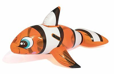 Children's Inflatable Ride On Clown Fish Pool Float Beach Lounger Lilo Kids Toy