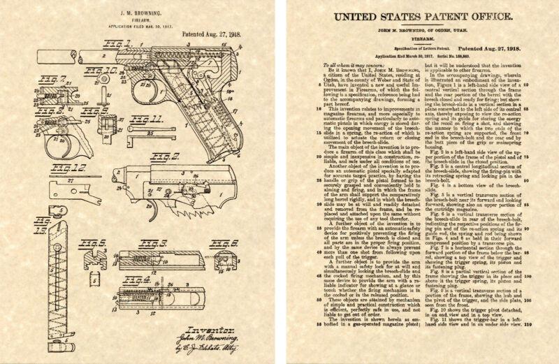 COLT WOODSMAN Pistol  Patent Art Print READY TO FRAME!!! John Browning 1918