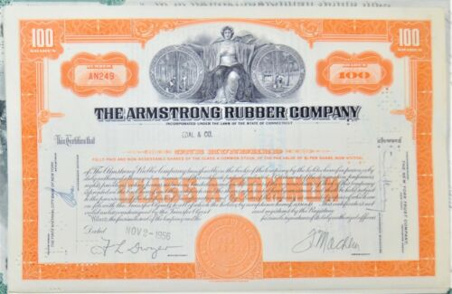 STOCK CERTIFICATE: 5 DIFFERENT CERTIFICATES From THE ARMSTRONG RUBBER COMPANY