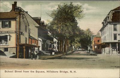 Hillsboro Bridge NH School Street Visible Signs Drug Store c1905 (Hillsboro Stores)