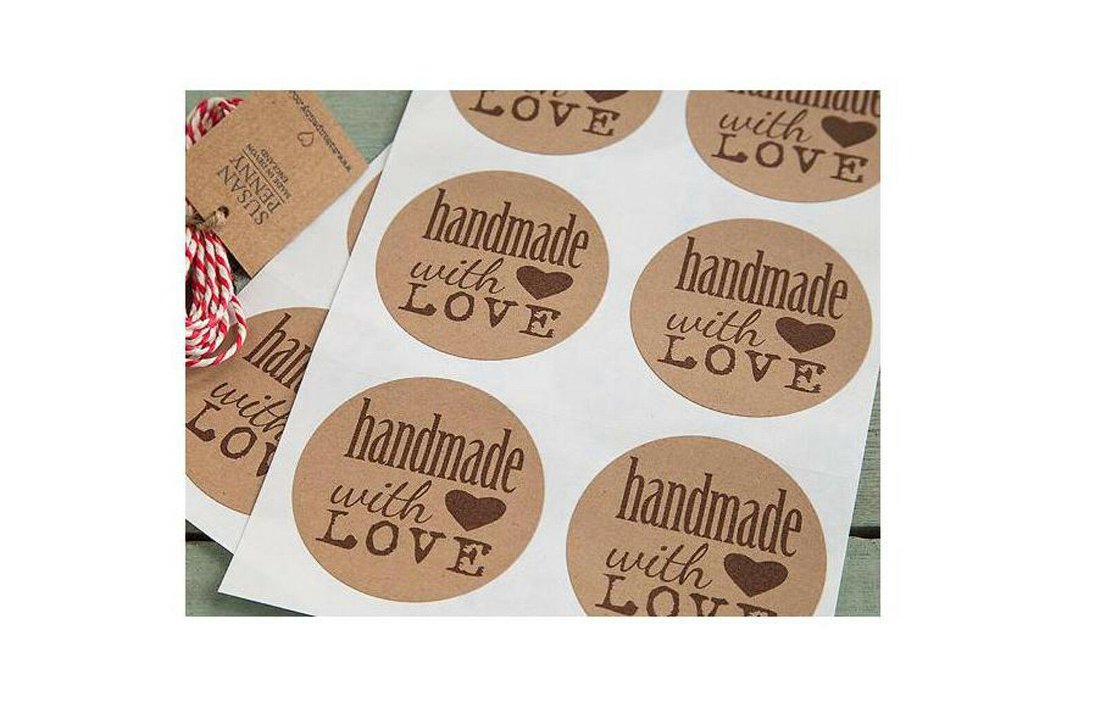 Details about 140 full colour 25mm round brown kraft paper labels stickers custom printed