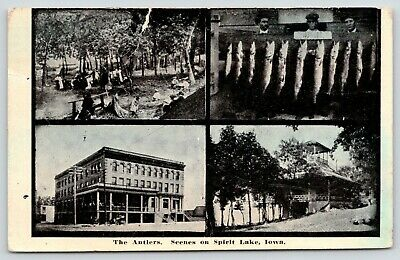 Spirit Lake Iowa~Antlers Hotel~Pavilion~Picnic~105 lbs Fish on Stringer~1914 PC