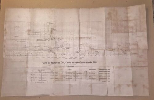 Antique Map of the Heights of Chile 1856 Elevation Map Chili V. Perez Rosales