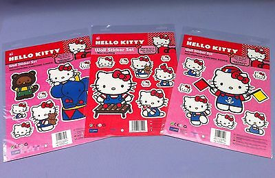 3 x REMOVABLE WALL STICKERS HELLO KITTY BEDROOM TOY BOX CABINET CRAFT