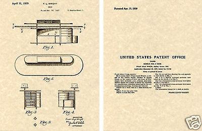 Frank Lloyd WRIGHT DESK US PATENT Art Print READY TO FRAME!!!!! classic vintage