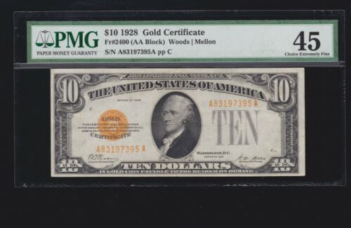 US 1928 $10 Gold Certificate FR 2400 PMG 45 Ch-XF (996)