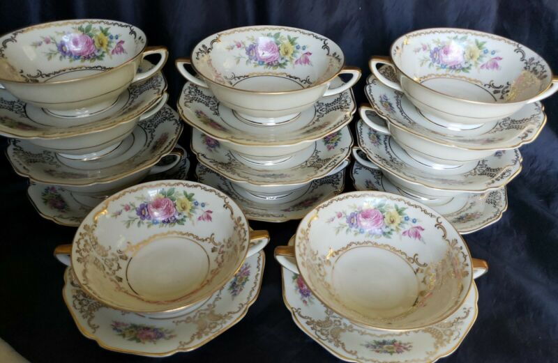(11) H &Co HEINRICH BAVARIA GERMANY CREAM SOUP CUP&SAUCER SETS DRESDEN FLOWERS