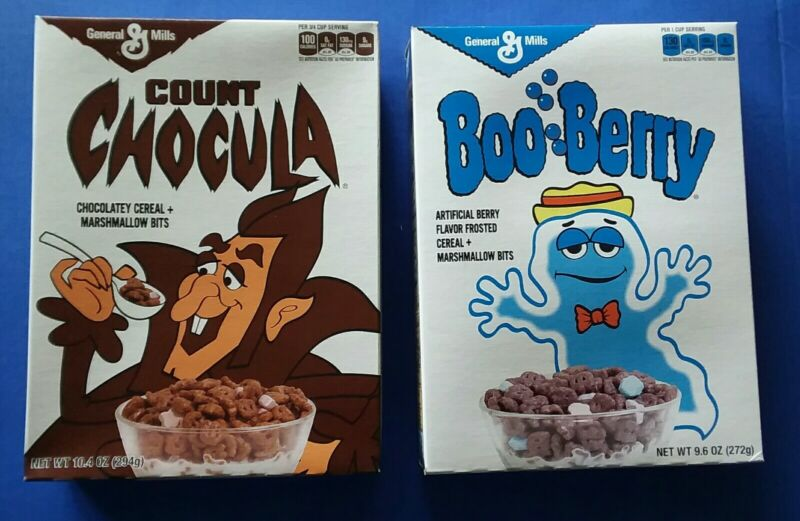 Count Chocula & Boo Berry FULL cereal boxes retro vintage style 2013 Target exc.