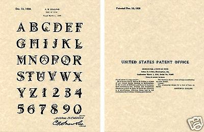 1938 REDDY KILOWATT FONT US PATENT Art Print READY TO FRAME!!!! Collins